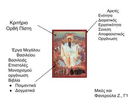 Κρυπτόλεξο - Κριτήρια - Αρετές και έργα του Μεγάλου Βασιλείου