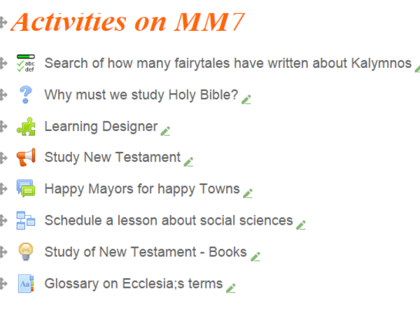 activities on moodle7-tackk