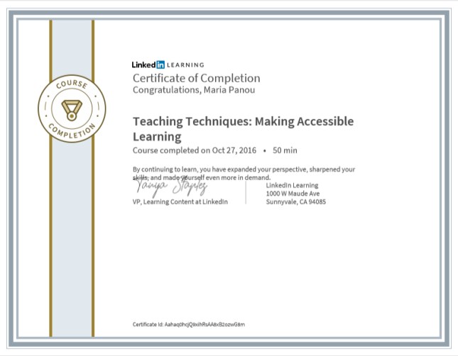 Linkedin_-_Βεβαίωση_παρακολούθησης_teaching_techniques_-_making_accessible_learning